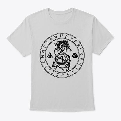Norse Runes Wolf Odin Tattoo Vikings Light Steel T-Shirt Front
