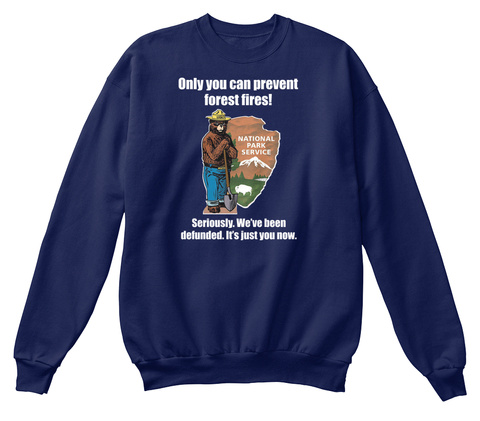 Only You Can Prevent Forest Fires Seriously We've Been Defunded It's Just You Now Navy  T-Shirt Front