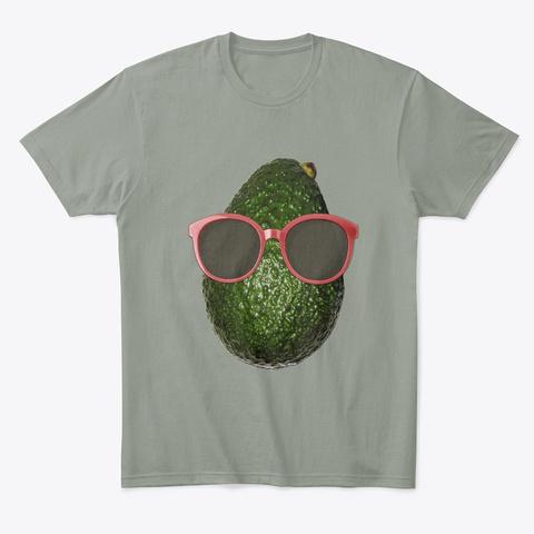 Avocado Wearing Sunglasses Gift Grey T-Shirt Front