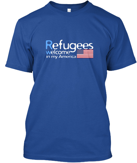 Refugees Welcome Deep Royal T-Shirt Front