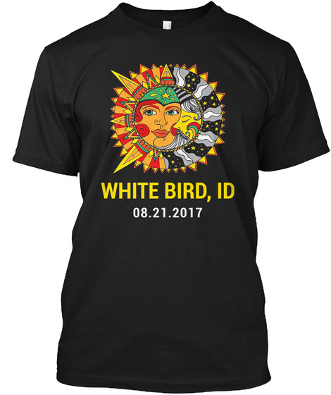 Totality Eclipse White Bird Id. Customizable Black T-Shirt Front