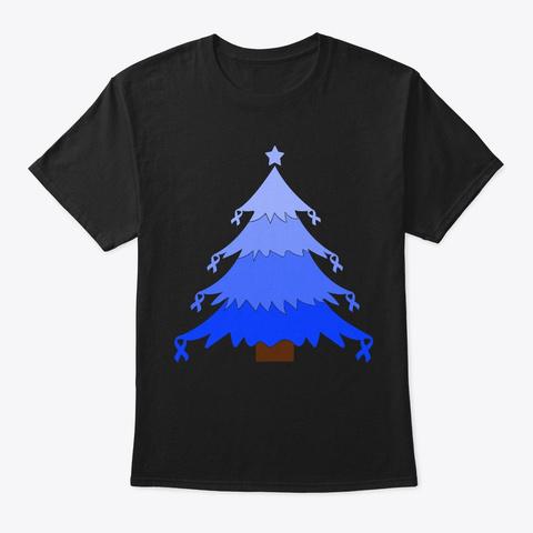 Christmas Tree Rectal Cancer Awareness Black áo T-Shirt Front