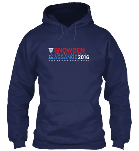 Snowden Assange 2016 Navy T-Shirt Front