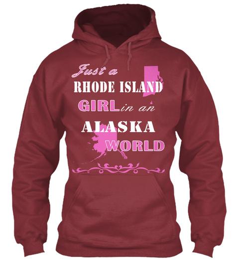 Rhode Island   Alaska Maroon T-Shirt Front