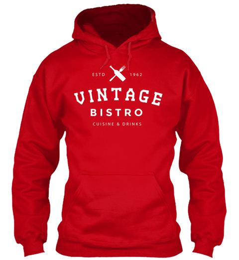 Estd 1962 Vintage Bistro Cuisine & Drinks Red T-Shirt Front