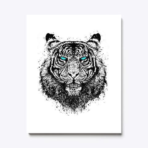 Tiger Gaze Canvas Print White T-Shirt Front