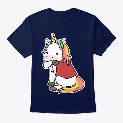 Unicorn Tattoo I Love Mom Navy T-Shirt Front