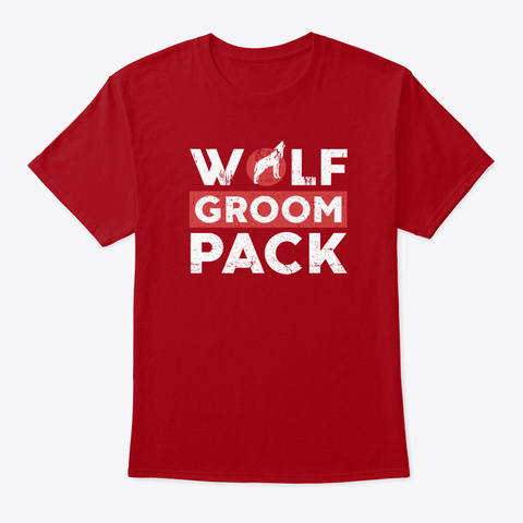 Groom Wolf Pack Bachelor Party Stag Nig Deep Red T-Shirt Front