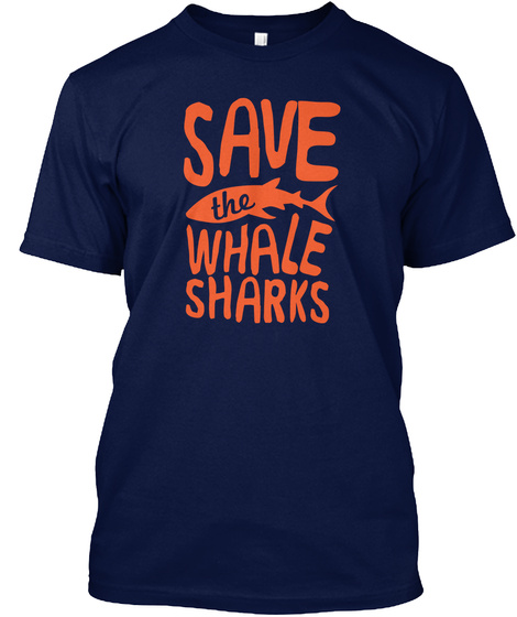 Save The Whale Sharks Navy T-Shirt Front