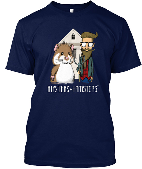 Hipsters Hamsters Navy T-Shirt Front