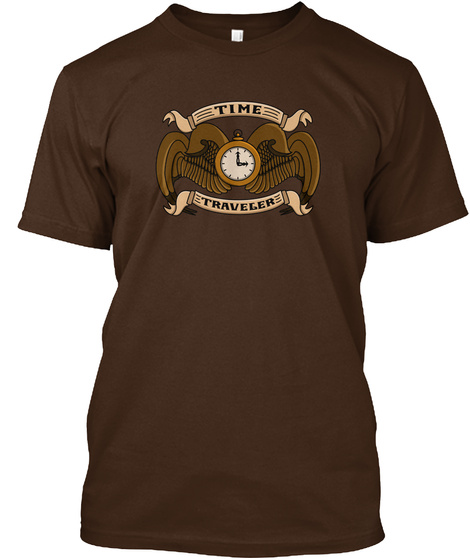 Official Steampunk Time Traveler Crest  Dark Chocolate T-Shirt Front