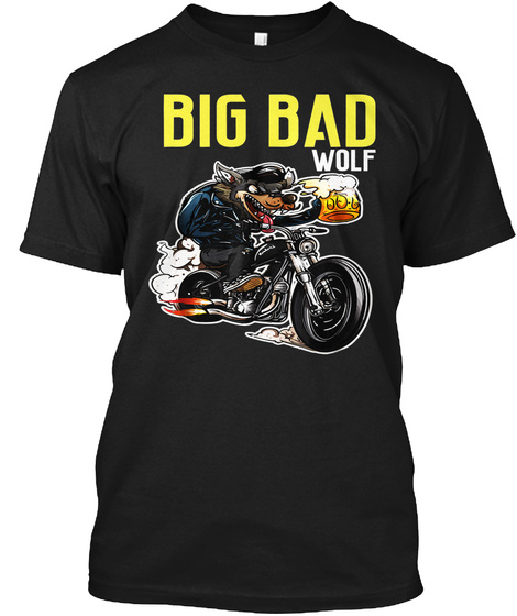 Big Bad Wolf And Beer Black T-Shirt Front