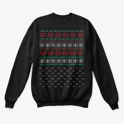 Ugly Christmas Poinsettia Apparel Black T-Shirt Front