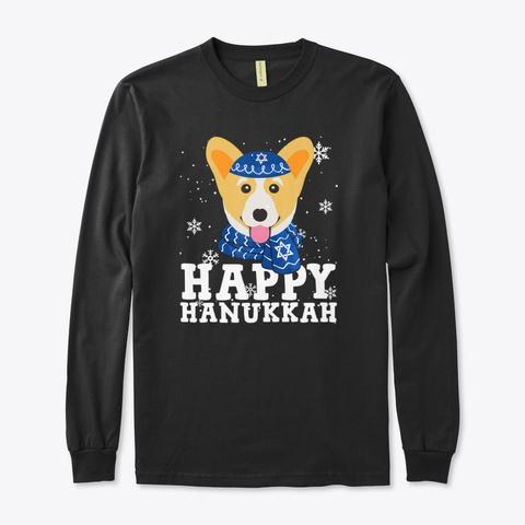 Happy Hanukkah Corgi Dog Funny Holiday Black T-Shirt Front