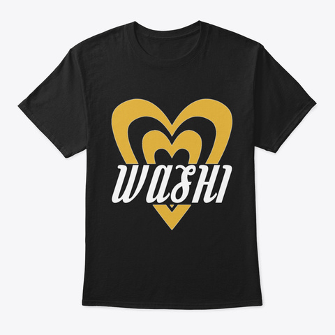 Gold Heart Washi For Art & Craft Washi T Black T-Shirt Front