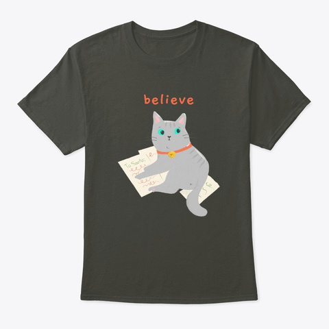 Cute Christmas Cat Is Writing To Santa Smoke Gray T-Shirt Front