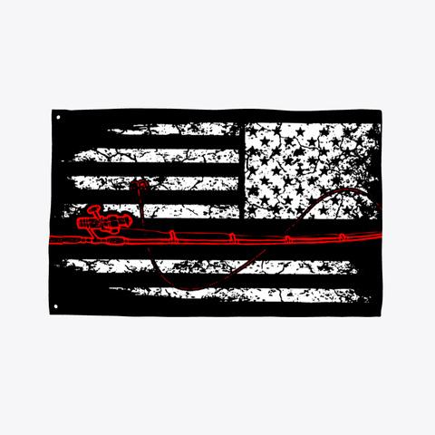 Fishing Flag Fishing American Fish Flags Black T-Shirt Front