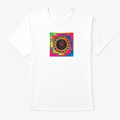 Sri Yantra White T-Shirt Front