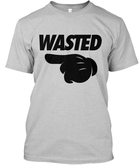 Wasted Pointing Left Light Steel T-Shirt Front