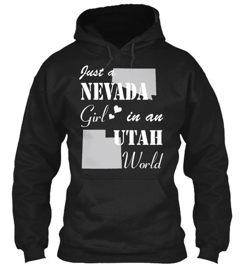 Nevada Girl In An Utah Black T-Shirt Front