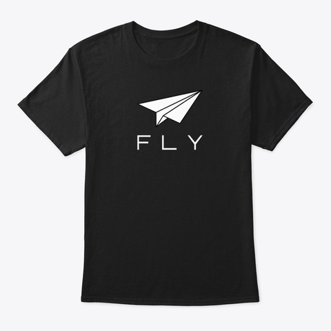 Fly Paper Airplane T Shirt Hoodie Black T-Shirt Front