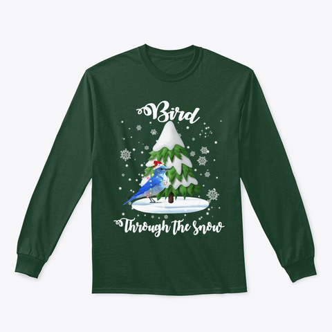 Bird Through The Snow Christmas Gift Dog Forest Green T-Shirt Front