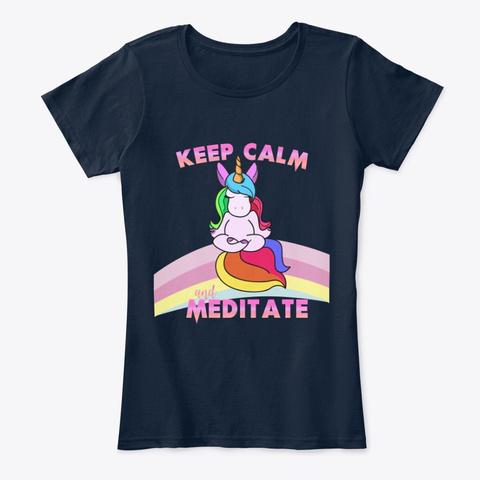 Unicorn Keep Calm An Meditate Fun Shirt New Navy T-Shirt Front