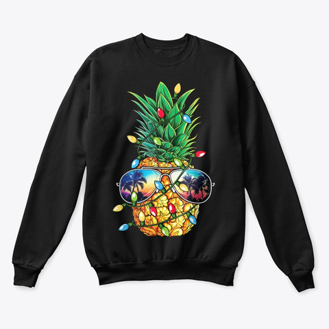 Pineapple Christmas Shirt Sunglasse Black T-Shirt Front