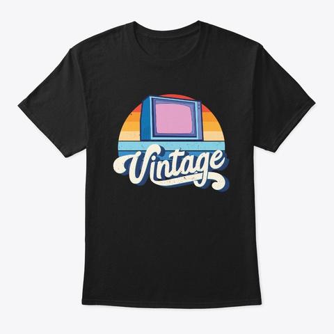 Retro Television 80s Vintage Crt Tv Black T-Shirt Front