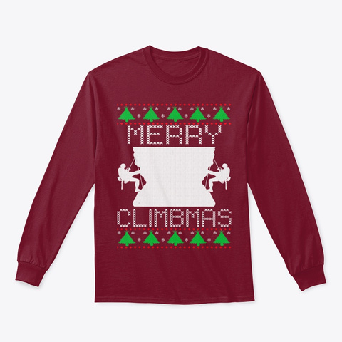 Merry Christmas Climbing Ugly Sweater Cardinal Red T-Shirt Front