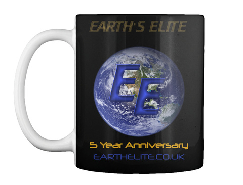 5 Year Anniversary Earthelite.Co.Uk Black Mug Front
