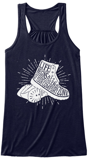 Life Begins At The End Of Your Comfort Zone Midnight T-Shirt Front