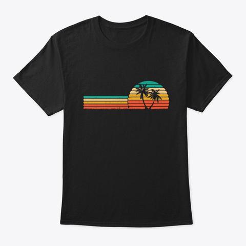 Palm Tree Retro Style Tropical Beach Black T-Shirt Front