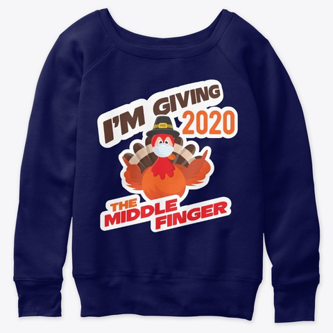 Thanksgiving Turkey Mask 2020 Navy  T-Shirt Front