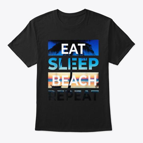 Eat Sleep Beach Repeat Shirt Sunset Palm Black T-Shirt Front