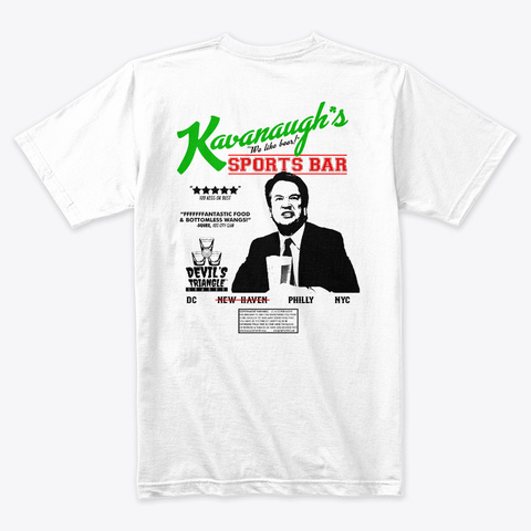 Kavanaugh's Sports Bar Exclusive White T-Shirt Back