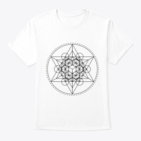 Sacred Geometry Teal Metatron Black White T-Shirt Front