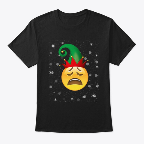Merry Weary Face Christmas T Shirt Black T-Shirt Front