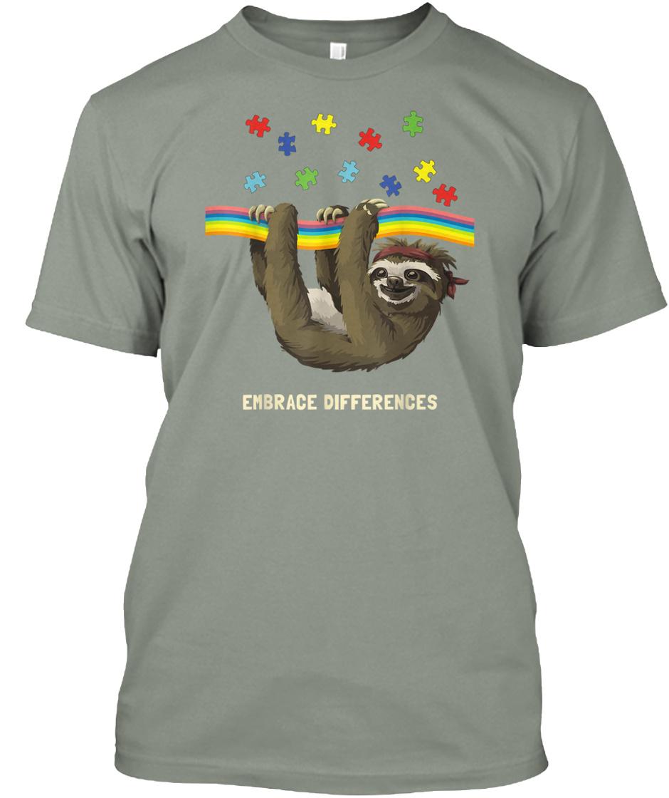 Embrace Differences Sloth Autism Sticker Portrait