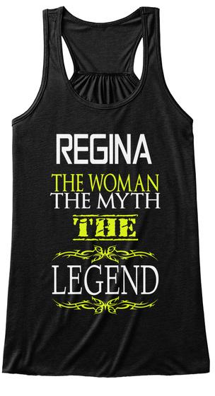 Regina The Woman The Myth The Legend Black T-Shirt Front