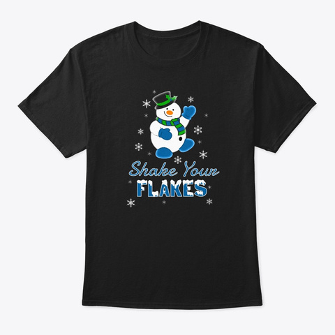 Holiday Snowman Shake Flakes Blue  Black T-Shirt Front