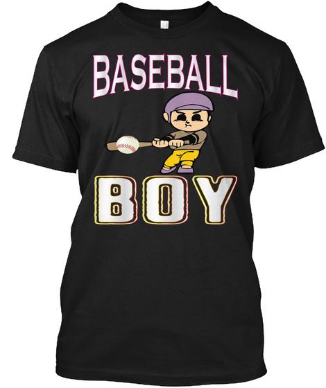 Baseball Boy Black T-Shirt Front