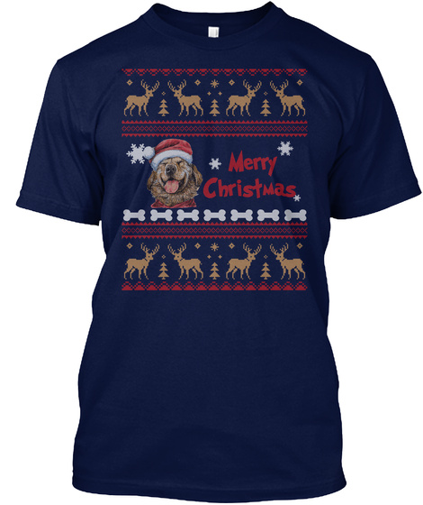 Ugly Christmas Cute Golden Retriever Tee Navy T-Shirt Front