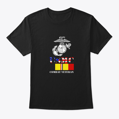American Flag Combat Action Ribbon Black T-Shirt Front