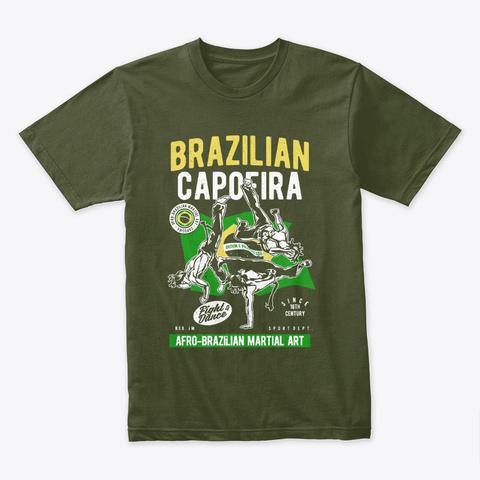 Brazilian Capoeira T Shirt Military Green T-Shirt Front