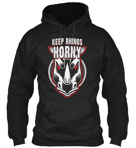 Keep Rhinos Horny Black T-Shirt Front
