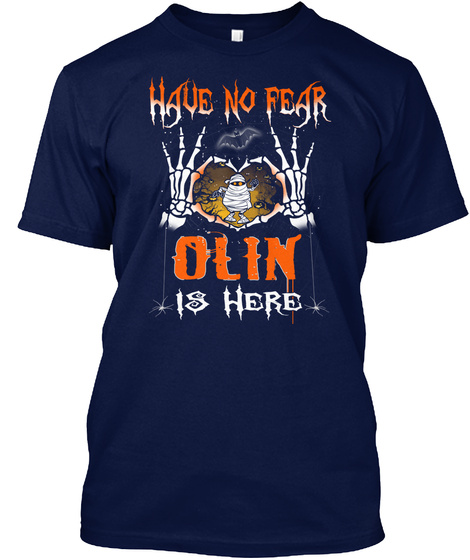 Halloween Shirts Name Olin Is Here Navy T-Shirt Front