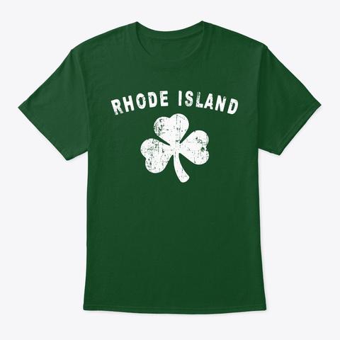 Rhode Island Irish   St. Patrick's Day Deep Forest T-Shirt Front