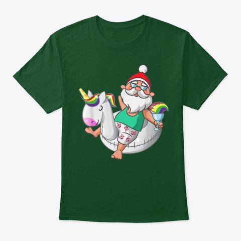 Christmas In July Santa Hawaiian Unicorn Deep Forest T-Shirt Front