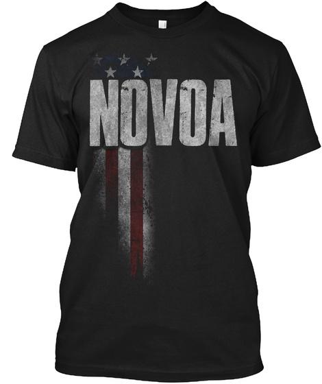Novoa Family American Flag Black T-Shirt Front
